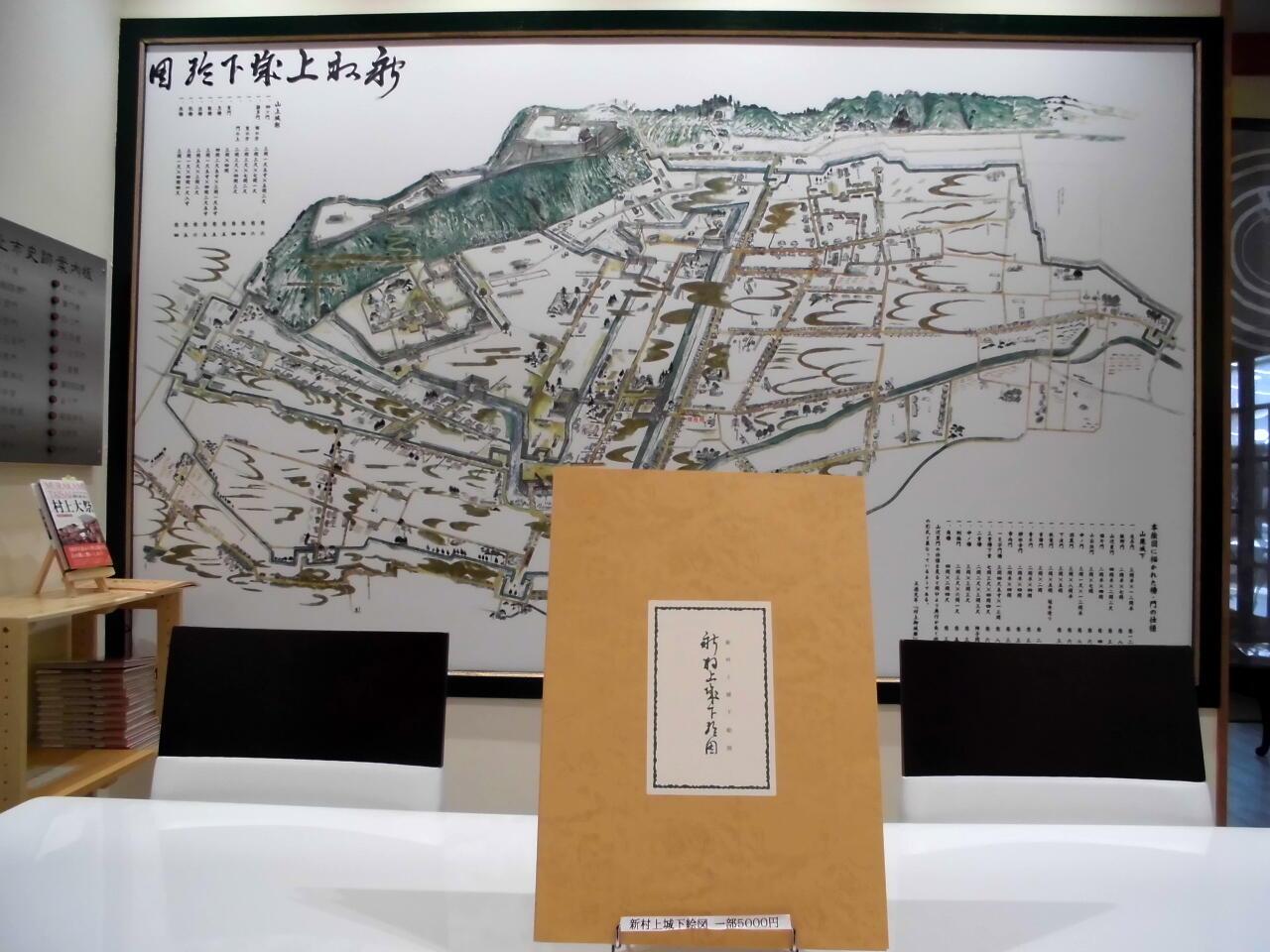 大町文庫では絵図のパネルが壁に展示されている。